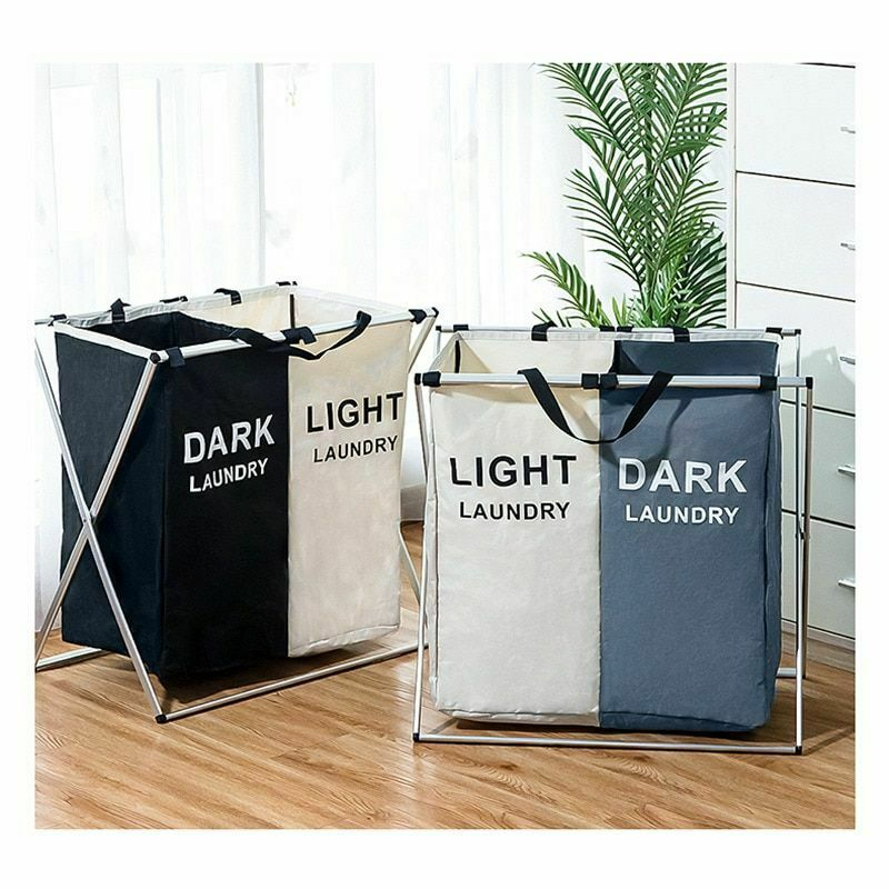 X-shape Collapsible Dirty Clothes Laundry Basket 2/3 Section Foldable Organizer Dorm Laundry Hamper Sorter Washing Laundry Bag