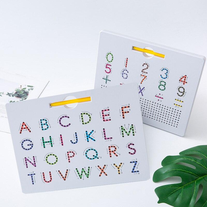 2 em 1 placa de desenho magnético crianças brinquedo duplo face alfabeto número letra tracing board aprendizagem educacional abc presente pré-escolar