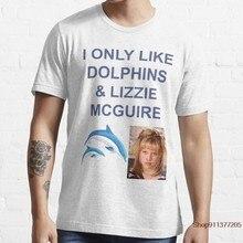 Lubię tylko delfiny I LIZZIE MCGUIRE Funny T Shirt formalna wiosna jesień Fitness śmieszne projektowanie koszulki Streetwear Shirt