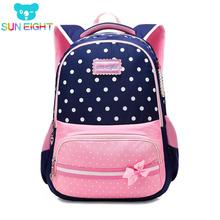 SUN EIGHT nowe torby szkolne dla dziewczynek marka kobiety plecak tanie torby na ramię hurtownia dziecięce plecaki mochilas escolares infantis tanie tanio Nylon zipper 8199 28cm Dziewczyny 14cm 41cm 0 6kg 45*30*16CM 41*28*14CM Pink Violet Navy Blue