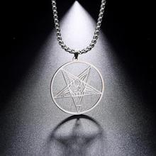 My Shape Supernatural Talisman Stainless Steel Necklace Pentagram Hollow Amulet Goat PIN Je
