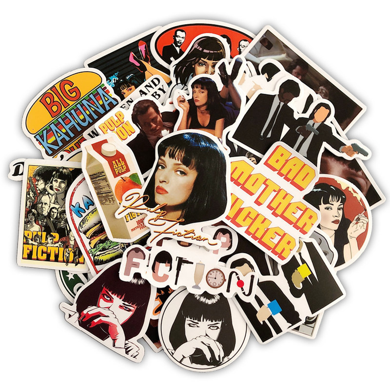 50pcs Famous Director Quentin Tarantino Sticker Classic Movie Pulp Fiction Film Car Bike Luggage Stickers