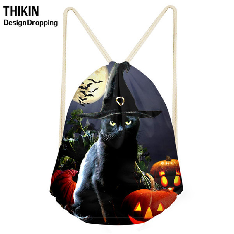 THIKIN 2019 Halloween Jack-O'-Lantern Drawstring Bag For Teenagers Girls Backpack Women Package Travel Large Capacity Storeage