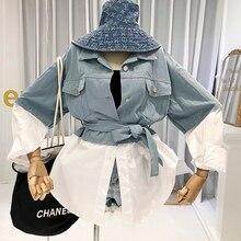 2019 Fall Korean Fashion Designer Denim Blouses Blusones De Mujer Largos Sueltos Patchwork Casual Turn-down Collar Cotton Blend