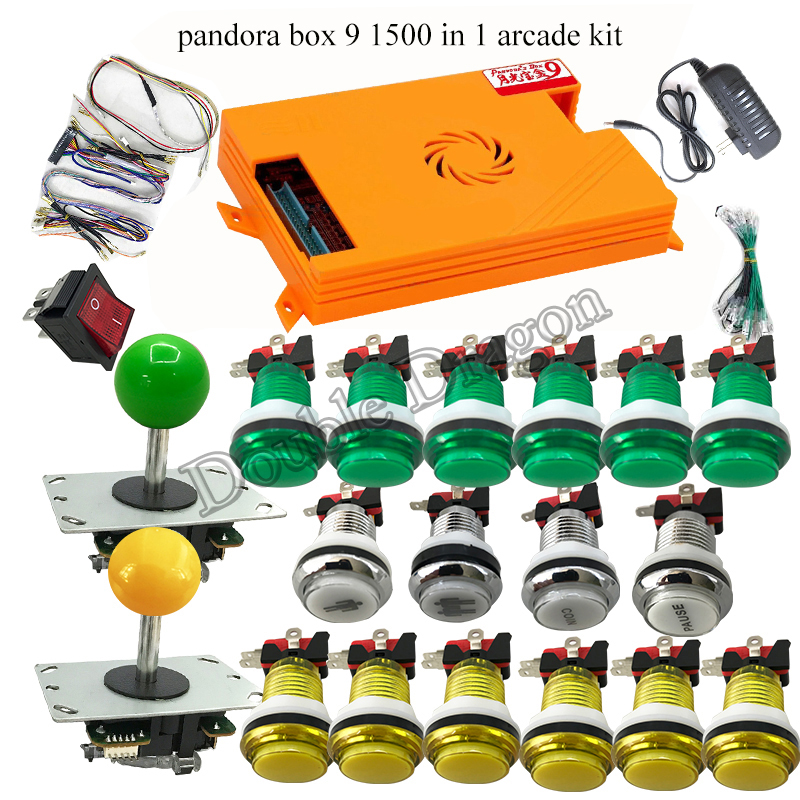 Diy Kit For Arcade Game Console 1500 In 1 Pandora Box 9 Family Home Version With LED Arcade Push Button 5pin Joystick Cable