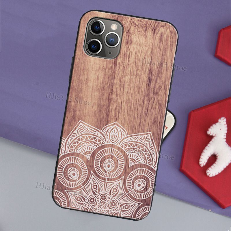 Mandala Floral Wooden Pattern Case For iPhone 12 Pro