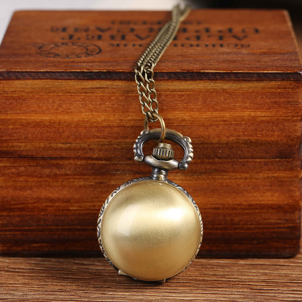 7001Retro Spherical Quartz Pocket Watch Fashion Bronze Open Cover Pocket Watch With Necklace Gift Male Female Child