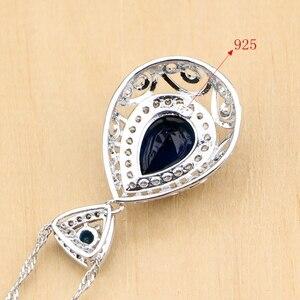 Image 5 - Hyperbole Blue Stone White CZ 925 Silver Jewelry Sets For Women Party Drop Earrings Pendant Rings Bracelet Necklace Set