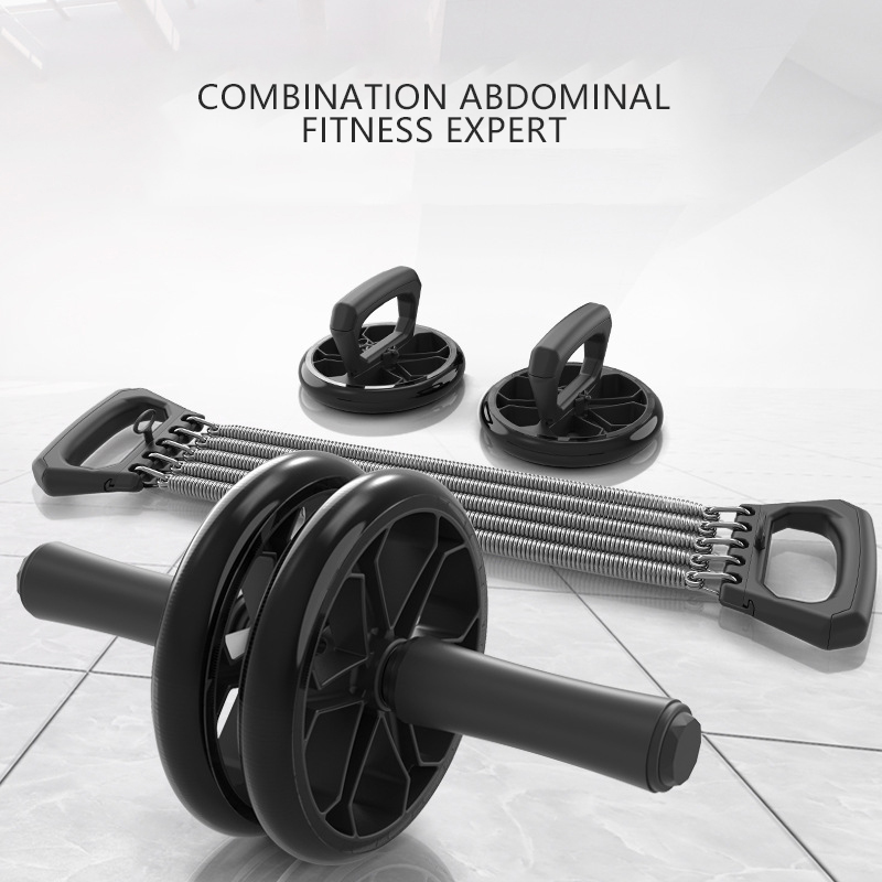 Exercise Set No Noise Abdominal Wheel Ab Roller & Elastic Bands & Push Up Bar For Exercise Fitness Equipment Hip Trainer Muscle