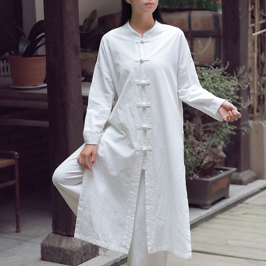Women Linen Jacket Long Robe Chinese Traditional Retro Kungfu Wushu Tai Chi Uniform Teaism Wear Casual Outfits Gown Hanfu