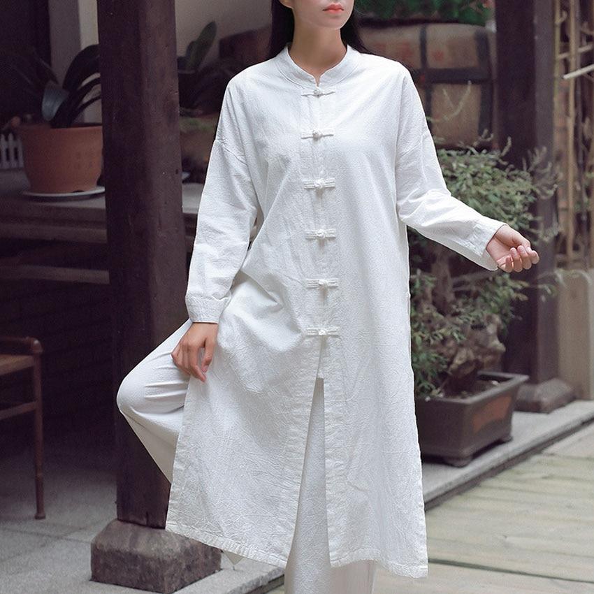 Women Linen Jacket Long Robe Chinese Traditional Retro Kungfu Wushu Tai Chi Uniform Teaism Wear Casual Outfits Gown Hanfu