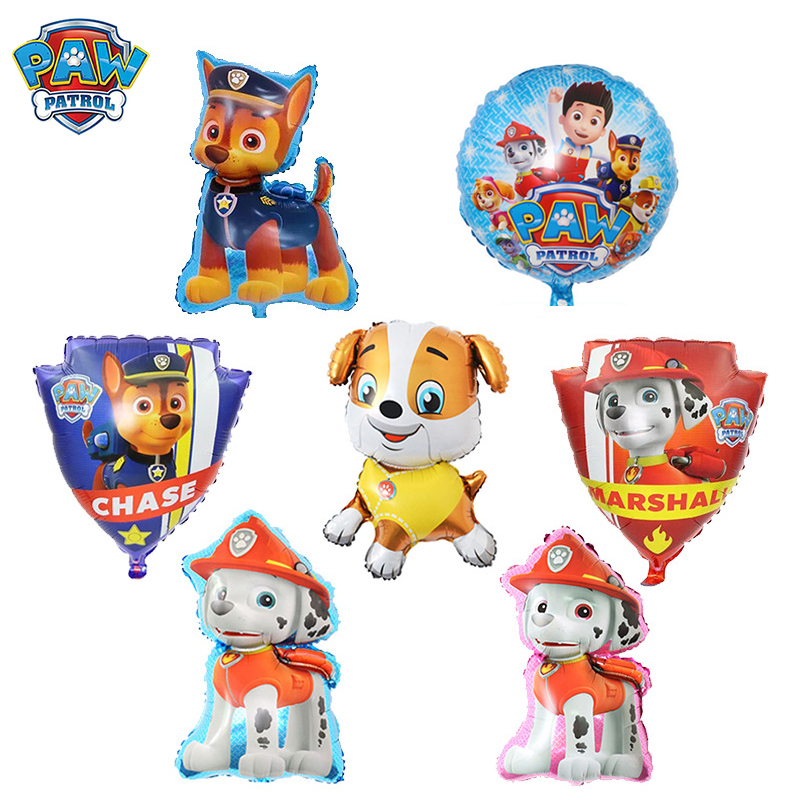 Paw Patrol Toys Balloon Party Room Dcorations Figure Foil Balloons Chase Marshall Ryder Dog Puppy Patrulla Canina Birthday Gifts