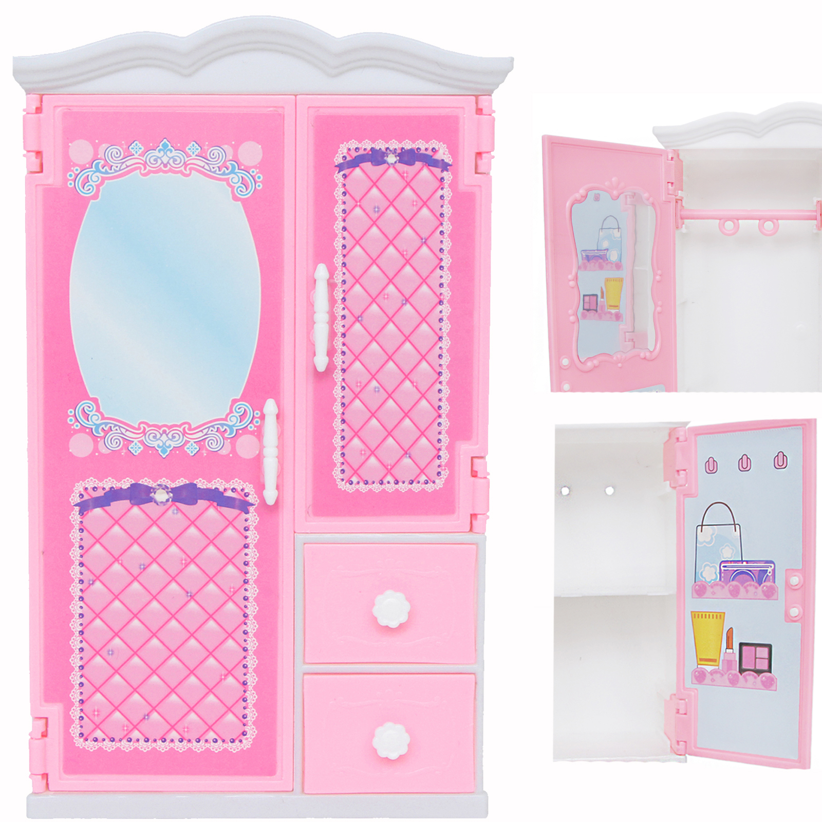 1 Set Mini Plastic Wardrobe With Mirror Drawer Pink Princess Bedroom Dollhouse Furniture Accessories Closet For Barbie Doll Toy Lazada Ph