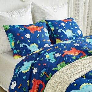 Image 2 - 쿨 블루 공룡 2/3pcs 이불 커버 침구 세트 어린이 베개 케이스 침대 시트 침대 커버 귀여운 만화 패턴 3 크기