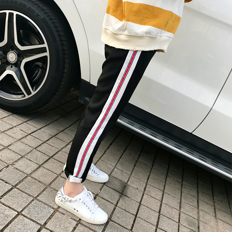 2018 New Style Spring And Summer Tidal Harbor Kong-Style Harajuku BF Style Athletic Pants Student Korean-style Loose-Fit School