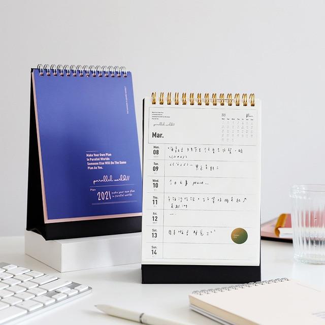 2021 Desk Calendar Hand-Painted DIY Daily Schedule Monthly WorkNote Schedule Wall Calendar Agenda Planner Calendar