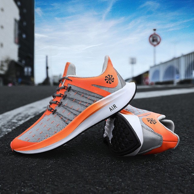 حار بيع البرتقال رمادي حجم 46 القمرية الرجال المدربين الأحذية الهواء شبكة تنفس سباق مرونة الإنزلاق الرجال أحذية رياضية الهواء تنيس هومبر