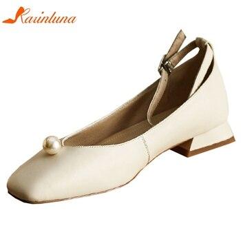 Karinluna New Arrivals 2020 Genuine Leather Hoof Heels Concise Pumps Woman Shoes Buckle Strap Casual Shoes Women Pumps