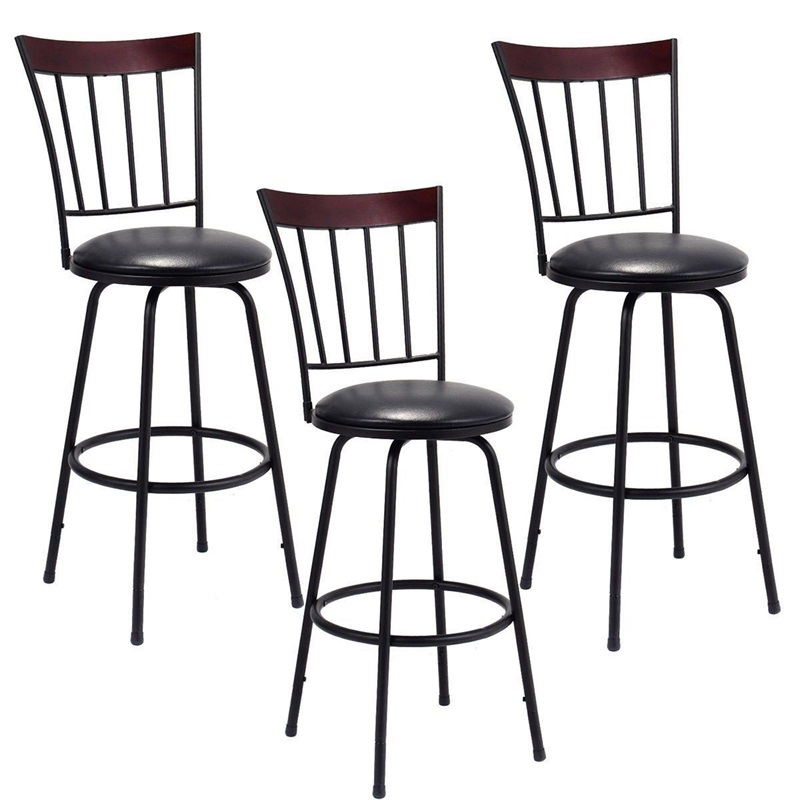 Set Of 3 Steel Frame PU Leather Swivel Bar Stools 360 Degrees Swivel Seat Design Chair Set Powder-coated Steel HW55642