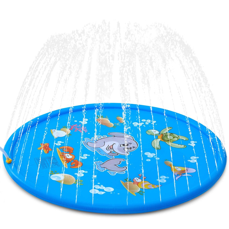 Splash Pad Kids Sprinkler Pad For Toodler Boys Girls Inflatable Shark Water Toys For Outdoor Upgraded Sprinkle Splash Play Mat