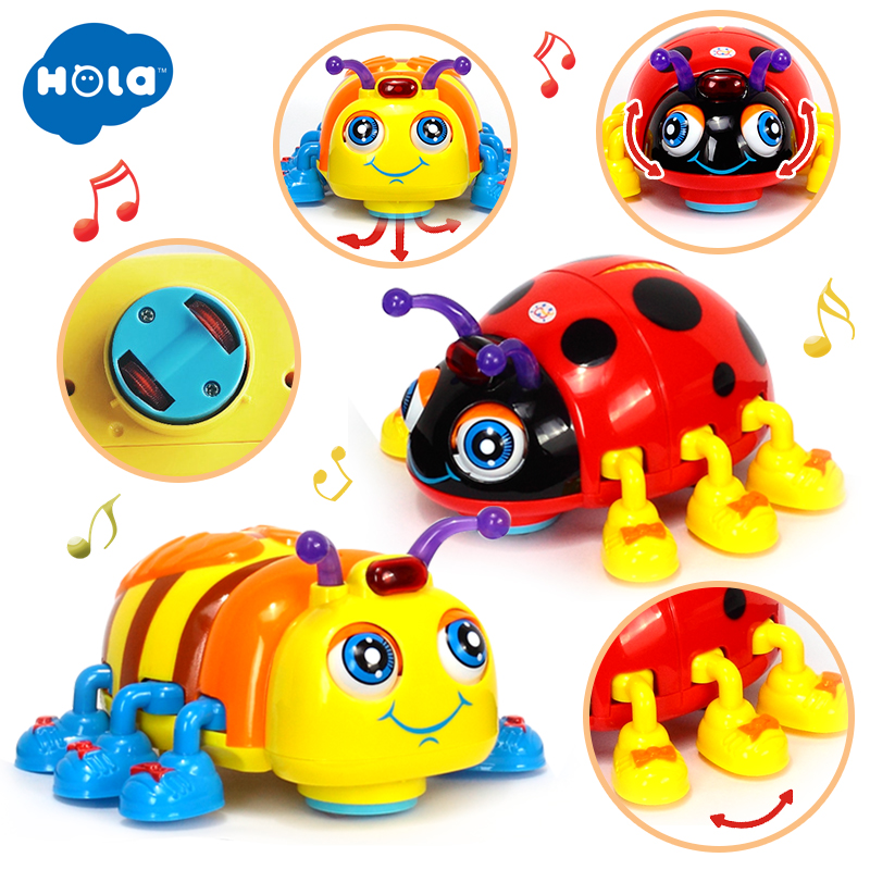 HOLA TOYS 82721 Baby Toys Infant Crawl Beetle Electric Toy Bee Ladybug With Music & Light Learning Toys For Children Gifts