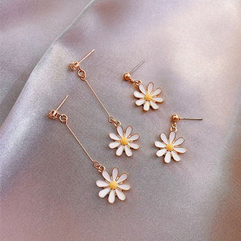 Women's Daisy Flower Long Drop Earrings Special Fashion Jewelry Sun Flower Graceful Earrings Sweet Romantic Style Earring image