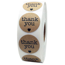 Natural Kraft Thank You Stickers Seal Labels 500 Per Roll Scrapbooking for Package Stationery Sticker 500pcs