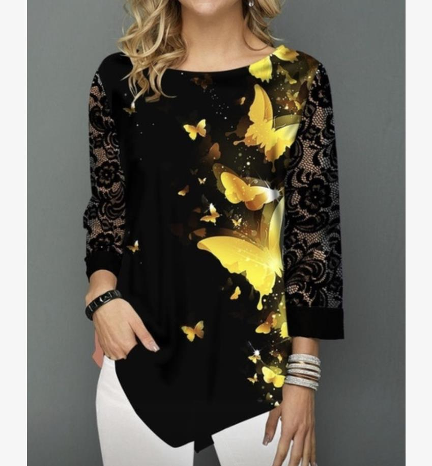 Shirt Blouse Women Plus Size 5XL Fashion New Spring Summer Print Black Tops 3/4 Lace Sleeve Elasticity Female Shirt Casual
