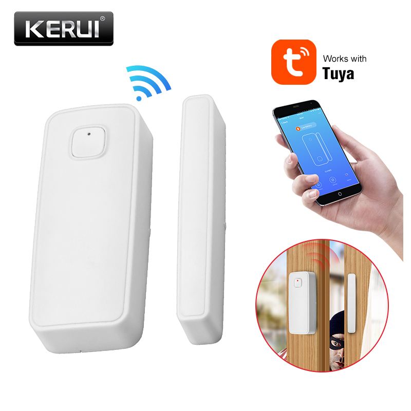 KERUI WIFI Door & Window  Wireless Contact Sensor With Tuya Smart Home Seucirty  Door Gate Entry Compatible With Alexa