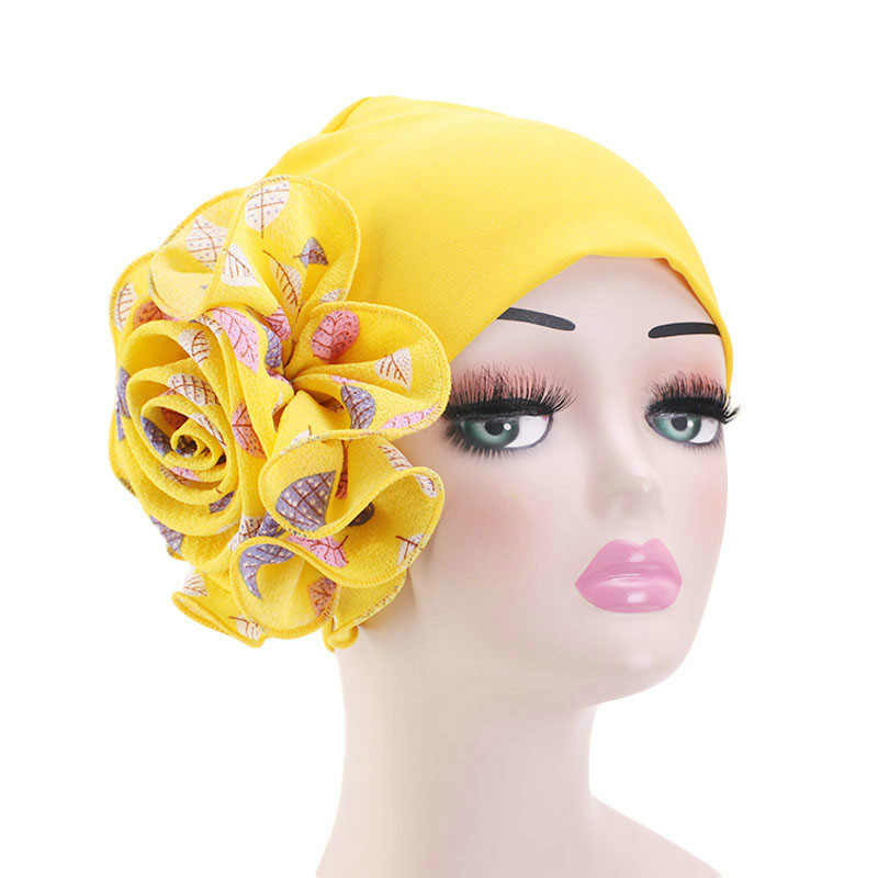 Hijab Scarf Turban-Cap Hair-Accessorie Flower Indian-Hat Muslim Women Wholesale Fashion