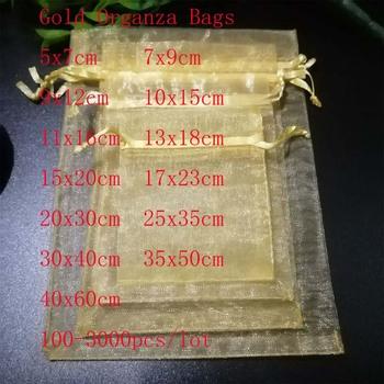 Sprzedaż hurtowa 100 sztuk partia złota Organza biżuteria torby torby sznurkiem torby do pakowania prezentów świąteczne torby ślubne i małe torebki tanie i dobre opinie ruiday CN (pochodzenie) Organza Jewelry Gift Bags 5x7cm 7x9cm 9x12 cm 0inch Opakowanie i wyświetlacz biżuterii Woreczki