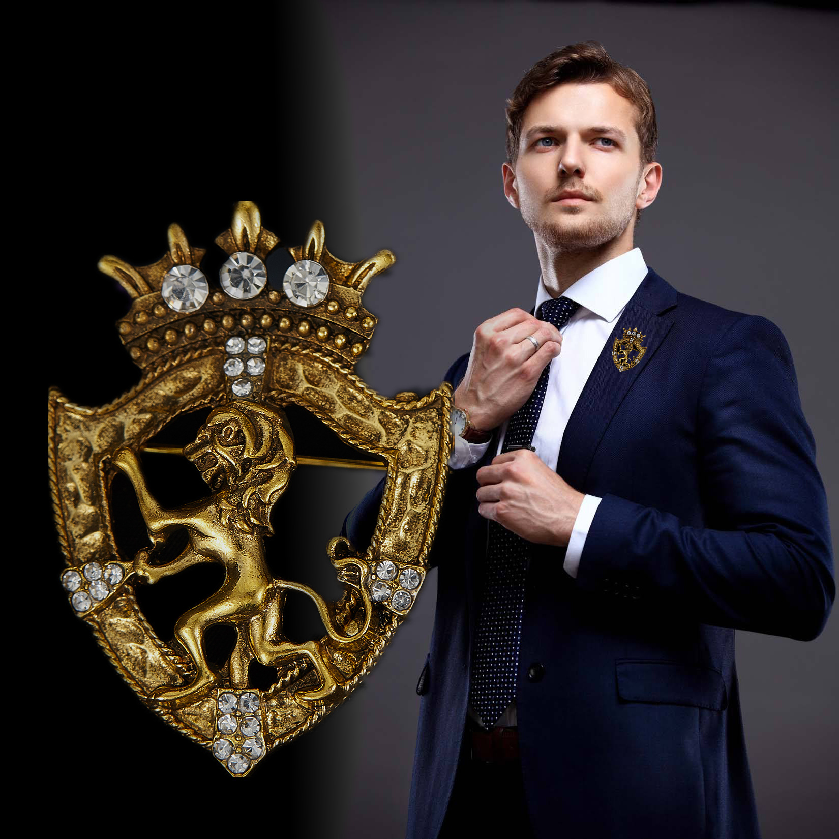Retro Lion Shield Crown Animal Brooches Fashion Men's Suit Shirt Collar Needle Badge Lapel Pins Jewelry Men Clothing Accessories