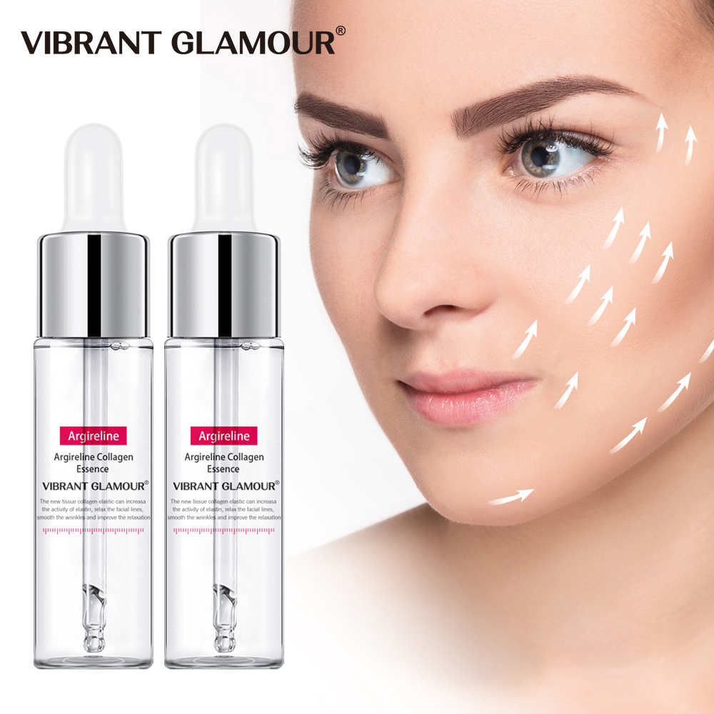 VIBRANT GLAMOUR 2Pcs Argireline Collagen Peptides Face Serum Anti-Aging Wrinkle Essence Firming Whitening Moisturizing Skin Care