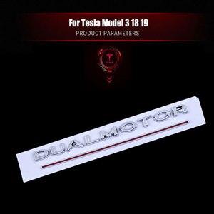 Image 2 - Per Tesla Modello 3 Doppio Motore Decalcomanie 3D ABS Auto Posteriore Tronco Emblema Adesivo Distintivo