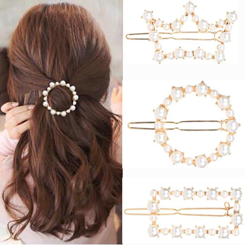 Woman Geometric Irregular Pearl Hairpins Girls Hair Accessories Delicate Hair Grip Ladies Barrettes Hair Clip Headwear