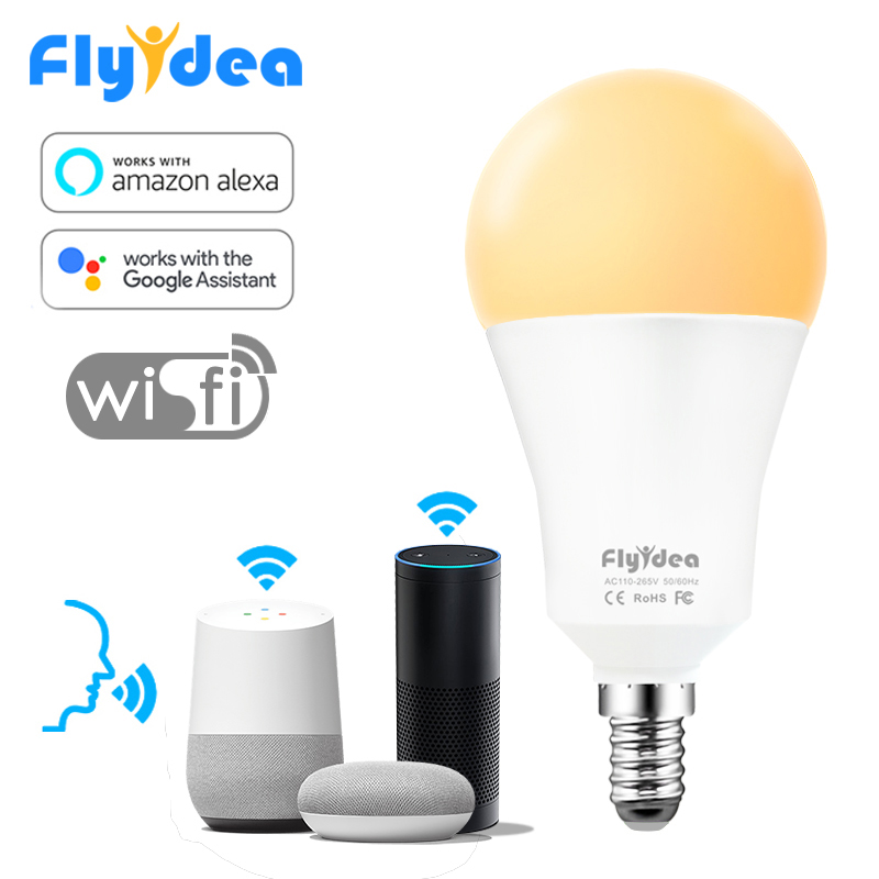 Wifi LED Light Bulb 15W Smart Bulb E14 AC100V 220V Smart House APP Voice Remote Control Table Lamp With Alexa And Google Home