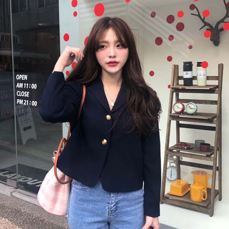 2019 Korea Women Autumn Cotton Blazers Brief Jackets Coat Single Breasted Blazer Feminina Chaqueta Mujer Outer Wear Veste Femme 3