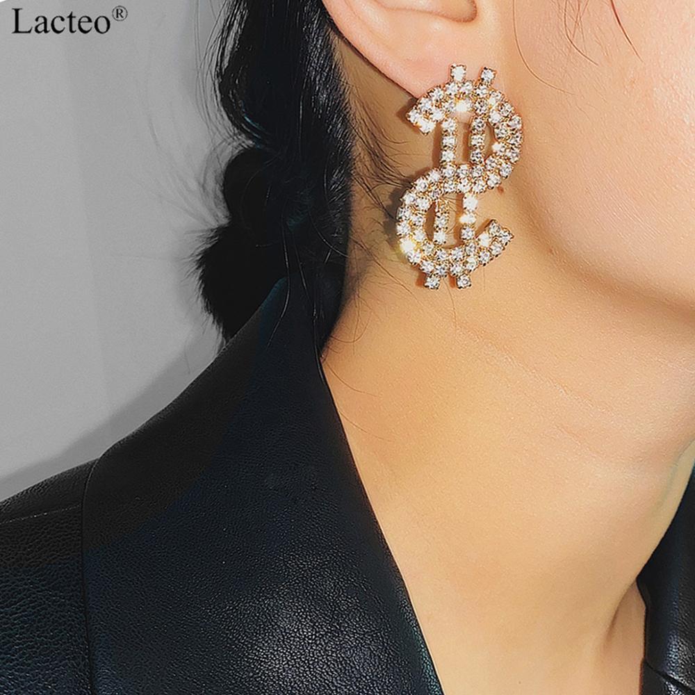 Lacteo Luxury Crystal Dollar Dangle Earrings Jewelry For Women Fashion Sexy Money Sign $ Rhinestone Charm Earrings Accessories