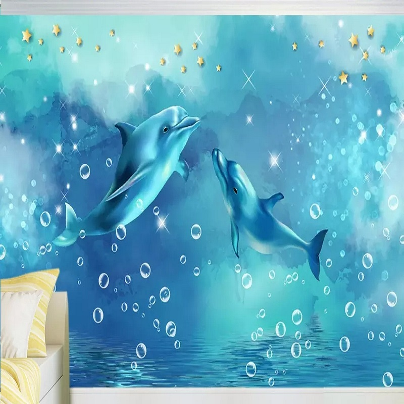 Custom Large Mural 3D Wallpaper Nordic Cartoon Creative Dolphin Baby Elephant Mural TV Back Wall Decor Deep 5D Embossed