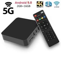 5G Smart Android 9,0 TV Box Rockchip RK3228A Quad Core 4K 2G 16 reproductor multimedia GB Youtube 2,4G WiFi 3D Set Top Box versión Global