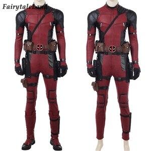 Image 4 - Deadpool 2 Wade Wilson Cosplay kıyafet cadılar bayramı kostümleri DP2 bir kez bir Deadpool kırmızı Suit tulum maskesi ayakkabı kemer özel yapılan