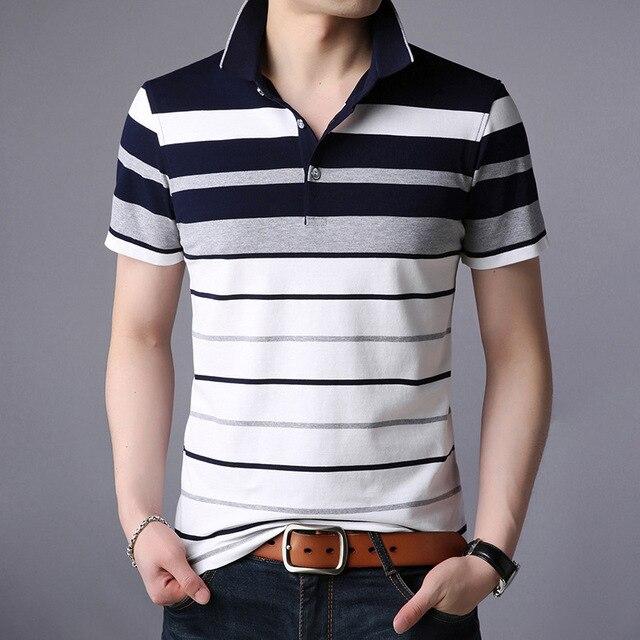 Men Classic Striped Polo Shirt Cotton Short Sleeve NEW Arrived 2021 summer Plus size M-XXXXL 3