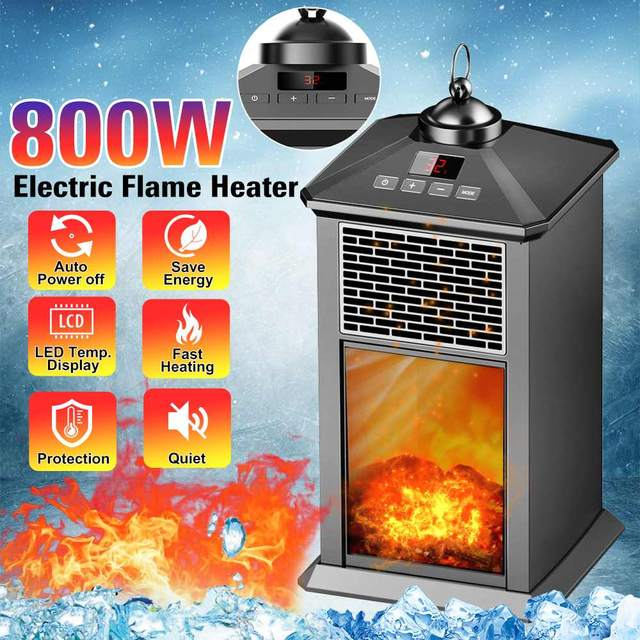 800w 220v 3d Flame Electric Heater Portable Fireplace Heater Ptc