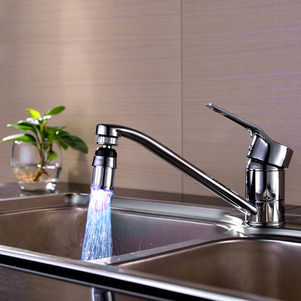 Led Kitchen Faucet Creative Kitchen Sink Faucet Kitchen Sink 7Color Change Water Glow Water Stream Shower LED Faucet Taps Light