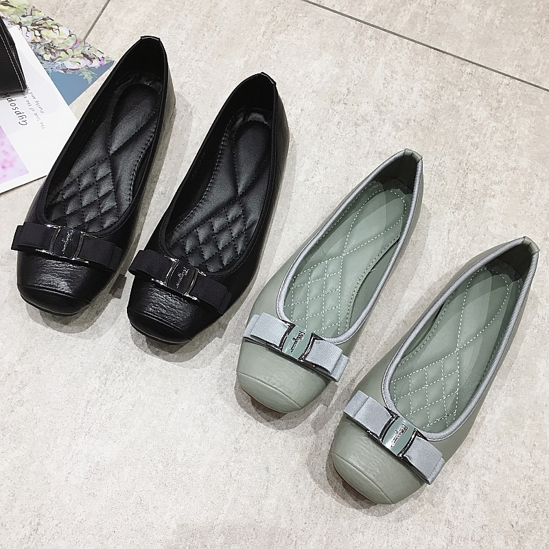 2020 Spring Autumn Women Ballet Flats Shoes Slip-On Ladies Footwear Bowtie Females Casual Work Shoes Loafers Grey Plus Size