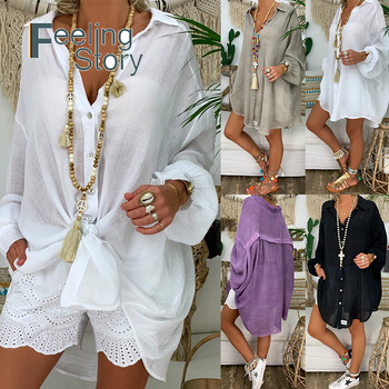 Long Sleeve Plus Size Linen Shirt Women White Button Down Shirt Loose Casual Cotton Blouse Womens Tops and Blouses Shirts Blusas 1
