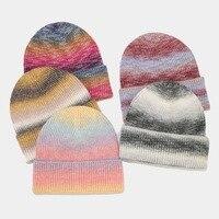 2021 אופנה צבע עניבה סרוג כובע חורף צמר Skullies בימס עבור נשים גברים מקרית היפ הופ