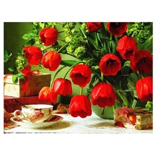 5D Diamond Painting Red Tulip Full Circular Embroidery Picture of Rhinestone Home Decoration