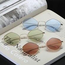 Metal Frame New Polygon Sunglasses Ladies Brand Designer Vintage Sungla