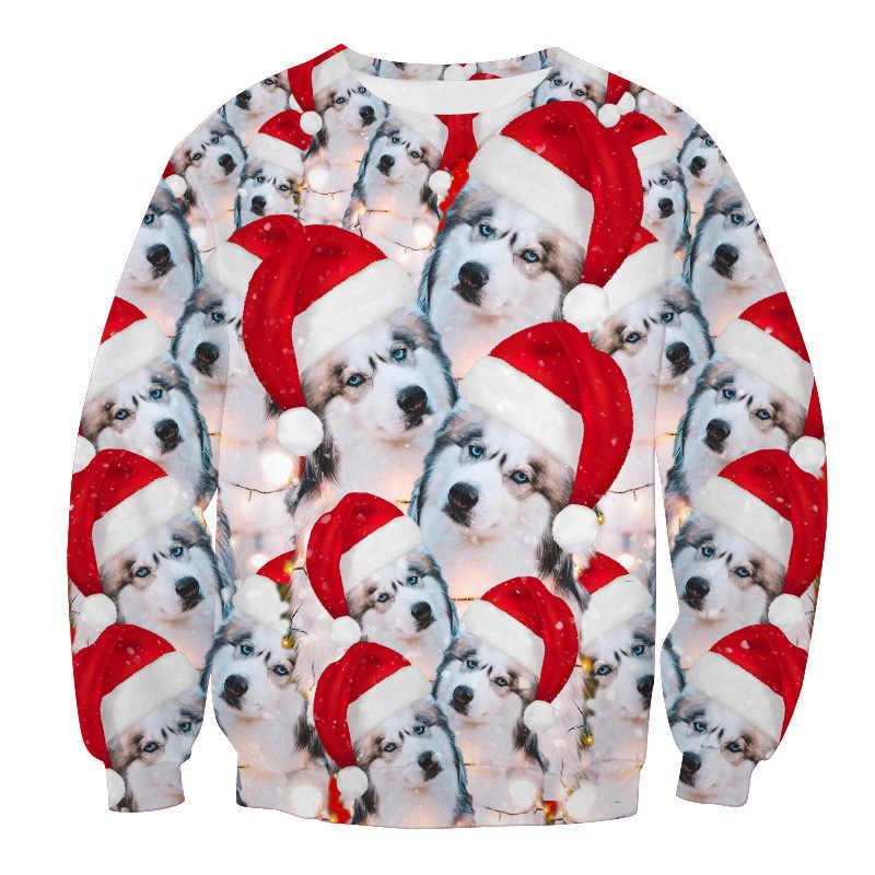 2019 선물을위한 추악한 크리스마스 스웨터 산타 엘프 재미 있은 풀오버 여자 남자 스웨터 탑스 3d 인쇄 강아지와 새끼 고양이 xmas 운동복